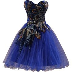 Clearbridal Women's Short Royal Blue Peacock Prom Party Homecoming... (£39) ❤ liked on Polyvore featuring dresses, royal blue dress, prom dresses, blue prom dresses, short cocktail dresses and blue party dress