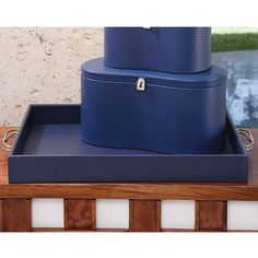 Global Views Midtown Leather Tray Blue Home Decor Containers Trays Leather Tray, Coffee Table Tray, Blue Home Decor, Vanity Tray, Tray Decor, Vintage Handbags, Ink Blue, Oly Studio, Polish