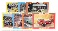 Matchbox Regular Wheels group of 7 x 1969 US issue Fred Bronner Corporation Jigsaw Puzzles including No.29c Fire Pumper; No.31c Lincoln Continental; No.34c VW Camper; No.39c Ford Tractor with Hay Trailer, No.62c Mercury Cougar; No.66b Greyhound Bus and No.72b Standard Jeep.