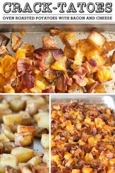 Crack-tatoes - Crispy oven roasted potatoes topped with cheese and bacon. SUPER EASY and perfect every time.
