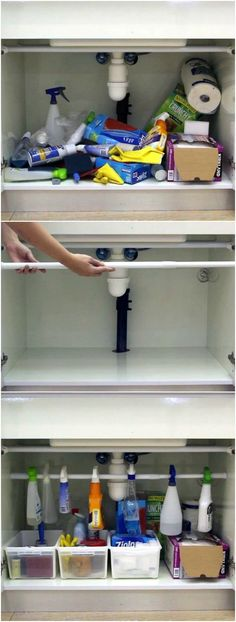 If you have a mess under your kitchen sink cabinet, there's no need to fret! I have a super easy and cheap solution, and all it takes is 15 minutes, a tension rod and some plastic baskets. Bonus: it only costs $10 so say goodbye to that mess!