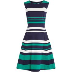 Dickins & Jones Stripe Fit and Flare Dress ($130) ❤ liked on Polyvore featuring dresses, vestidos, women, blue cotton dress, fit and flare dress, striped cotton dress, blue dress and stripe dress