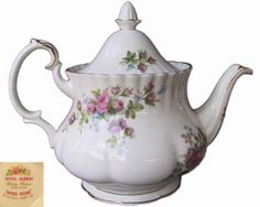 Royal Albert MOSS ROSE 6 Cup Large TEA POT 1st Eng c1970's Excellent Condition