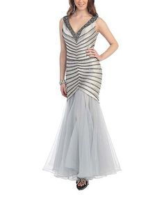 Loving this Silver Stripe Hand-Beaded Mermaid Gown & Shawl on #zulily! #zulilyfinds
