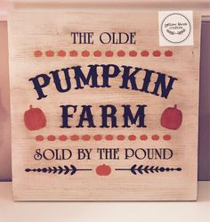 Pumpkin Farm, Bamboo Cutting Board, Signs, Halloween, Things To Sell, Shop Signs, Sign, Halloween Labels, Dishes