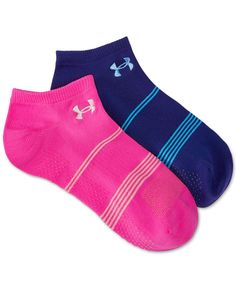 Introducing the moisture-wicking, odor-neutralizing, arch-supporting pair you'll love to wear on your most active days. Each pack of Grippy No-Show Socks contains two pairs. From Under Armour. | Nylon