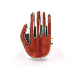Brett Bastien (Navajo/American), Hand Ring, coral/turquoise/gold/silver, c. 2000.