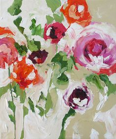 Original Abstract Floral Painting Fauve Impressionist Landscape Still Life Flowers Acrylic Painting on Canvas by Linda Monfort