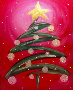 Trendy Ideas for whimsical christmas tree painting holidays Canvas Painting Projects, Christmas Paintings On Canvas, Christmas Tree Painting, Easy Canvas Painting, Diy Canvas, Christmas Art, Christmas Projects, Diy Painting, Art Projects