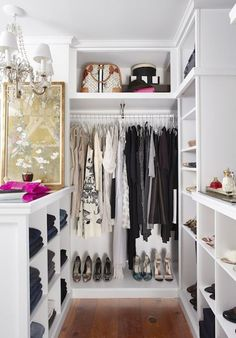 Cute White walk in closet Great solution if you don ut have that much space and you still want to feel like a princess totally could set this up in a corner of
