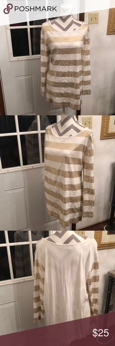 💄Just In💄 Sequin Embellished Top Gold and cream sequin embellished long sleep top. Purchase by 4:00 pm CT for same day shipping. Joan Vass Tops Blouses