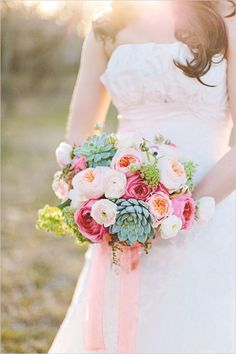 succulent peach wedding bouquet