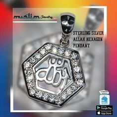 Rhodium-plated Sterling Silver Allah Pendants  #pendant #islamic #jewelry #islamicjewelry #allahnecklace Google Play, Muslim, Allah, Islamic, Pendants, Sterling Silver, Jewelry, Jewlery, Jewerly