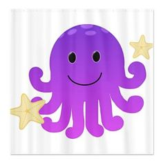 Purple Octopus Shower Curtain $40.99  This super cute purple octopus is wonderful for the young and the young at heart. With his charming smile and cute starfish friends this is sure to please, perfect as a gift for you or a loved one