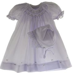 Hiccups Childrens Boutique - Petit Ami Newborn Girls Lavender Smocked Daygown