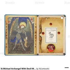 St.Michael Archangel With Devil Monogram Parchment Case For iPad Air