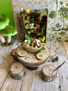 Fairy kitchen shelf miniature dollhouse furniture and