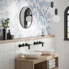 Crafted Blanc Bleu Patchwork W&F Decor Interior Design, Interior Decorating, White Porcelain Tile, His And Hers Sinks, Patchwork Tiles, Closet Lighting, European Home Decor, Bathroom Design Luxury, Teen Room Decor