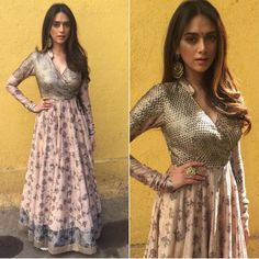 Aditi Rao Hydari in a pink printed anarkali with dust gold yoke by Saaksha and Kinni - Bollywood - Celebrity fashion 2016 Dress Indian Style, Indian Dresses, Indian Outfits, Heavy Dresses, Nice Dresses, Long Dresses, Indian Designer Outfits, Designer Dresses, Designer Kurtis