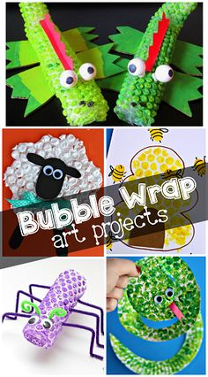 Here are some fun bubble wrap painting art projects for kids to make! You can find snakes, beehives, fish, grapes, corn, sheep, and more craft ideas!