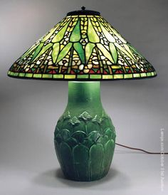 Tiffany Studios Arrowroot on important Grueby base.  The arrowroot shade is an arts & crafts collector's dream.