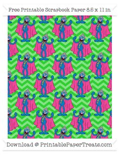 Free Lime Green Chevron Large Grover Pattern Paper - Sesame Street
