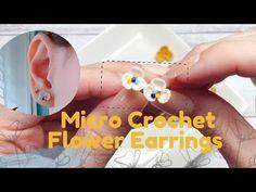 Diy Crochet Jewelry, Diy Crochet Accessories, Crochet Rings, Bead Crochet, Yarn Flowers, Crochet Flowers, Crochet Stitches Free, Crochet Patterns, Crochet Pullover Pattern
