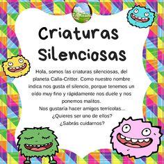 cartel criaturas silenciosas Behavior Management, Classroom Management, Quiet Critters, Kindergarten Goals, Homemade Baby Toys, Class Dojo, Spanish Songs, Classroom Language, Teacher Tools