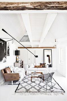 exposed beams, white walls, sofa, carpet - love the brightness /