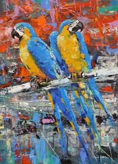 Guacamayas Modern Art. Palette Knife oil Painting on by spirosart