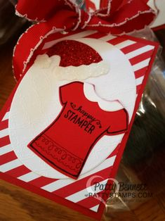 Stampin' Up! Custom Tee t-shirt stamps and framelits Santa hat tags for Luv 2 Stamp Group top seller gifts from Patty Bennett