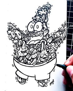 sup 🤟🏼, so rn I'm doodling in Patrick 😱 and oof it's like I gave him a tattoo so sexy 😂😂. I want to do a series where I draw all my favorite cartoon characters in my style 🤔. Cute Doodle Art, Doodle Art Designs, Doodle Art Drawing, Doodle Patterns, Doodle Sketch, Graffiti Doodles, Graffiti Drawing, Art Drawings Sketches Simple, Colorful Drawings