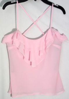 BEBE Pink 100% Silk Sheer Top/Cami-Flounces -Spaghetti Straps -Extra Extra Small #bebe #TankCami #top #silk #pink #XXS #small