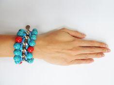 Bead bracelet woven chain bracelet coral bracelet by JewelryLanChe https://www.etsy.com/listing/250546891/bead-bracelet-woven-chain-bracelet-coral?ref=shop_home_active_6 #turquoise #coral #bracelet
