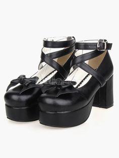 e7998c956201 Sweet Lolita Heel Platform PU Black Cross Straps Lolita Shoes  Heel