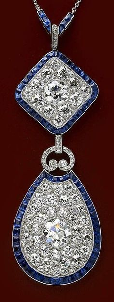 Formerly in the collection of Cornelia, Countess of Craven - A fine Art Deco platinum, diamond and sapphire pendant, French, circa 1920.