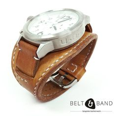 This popular style seems to be re-emerging. Introducing the fixed-cuff style watch strap in thick cow hide with hand stitching. Cow Hide, Leather Working, Fashion Watches, Calf Leather, Watch Straps, Calves, Handmade Leather, Belt, Brown