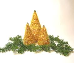 gold yellow sparkle knit christmas trees set of 3 holiday decor table top decoration centerpiece - Yellow Christmas Decorations