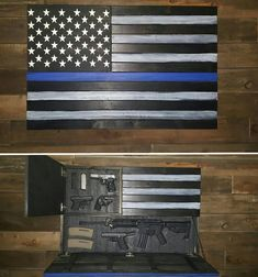 Large Thin Blue Line Concealed Weapon Flag Cabinet Thin Blue Line Flag, Thin Blue Lines, Gun Concealment Furniture, Tactical Wall, Police Flag, State Police, Wooden American Flag, Gun Storage, Hidden Storage