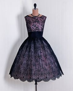 1950's Vintage ChampagnePink and Black by TimelessVixenVintage