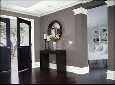 Dark wood, gray walls and white trim. We have the dark wood and white trim, now just need the grey walls! Style At Home, Grey Walls White Trim, White Wood, Black Trim, Taupe Walls, Dark Gray Walls, Grey Trim, Black White, Black Accents