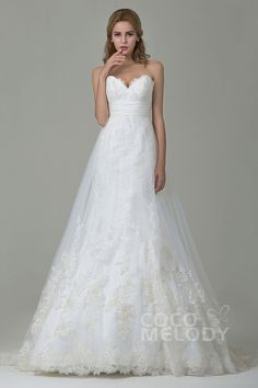 A Line Sweetheart Wedding Dresses Plus Size For Guest Check More At