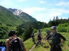 Mountain Biking to Moose Pass, Alaska.