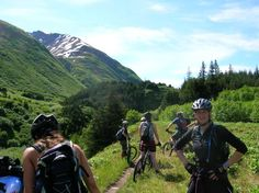 Mountain Biking to Moose Pass, Alaska.