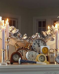 #feelbeautiful  #whbm  Collect an assortment of alarm clocks from family and friends.  Build an interesting arrangement on a table or mantel, and set them all to go off at Midnight. New Year's Eve Celebrations, New Year Celebration, Diy New Years Party, New Year Clock, New Years Eve Day, New Years Countdown, Nye Countdown, Countdown Clock, New Years Eve Weddings