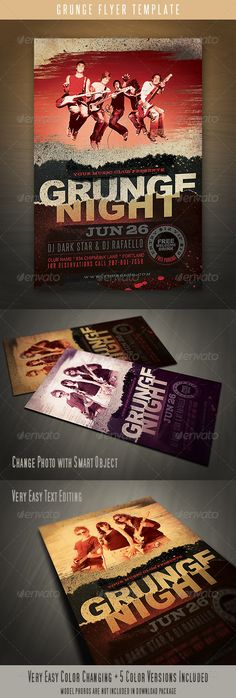 Emerald Flyer Template Grunge Flyer Template Graphicriver Item For