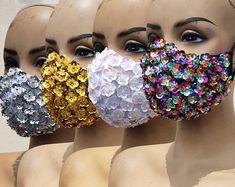 Easy Face Masks, Diy Face Mask, Rave Mask, Bridal Mask, Maskcara Beauty, Bling, Mouth Mask, Diy Mask, Fashion Face Mask