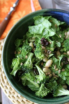 Salad with Broccoli, Dried Cherry, White Bean, Sunflower Seed & Creamy Basil Dressing (from @Cookin' Canuck Dara Michalski)