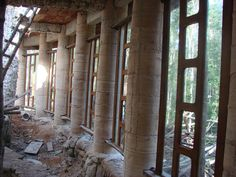 RAMMED EARTH COLUMNS | Flickr - Photo Sharing! Natural Building, Green Building, Rammed Earth Homes, Earth House, Champagne Taste, Earth 2, Building Materials, Cob, Natural Living