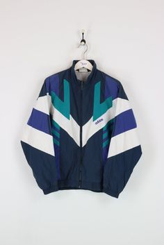 Adidas Shell Suit Jacket Navy/Green/White Large